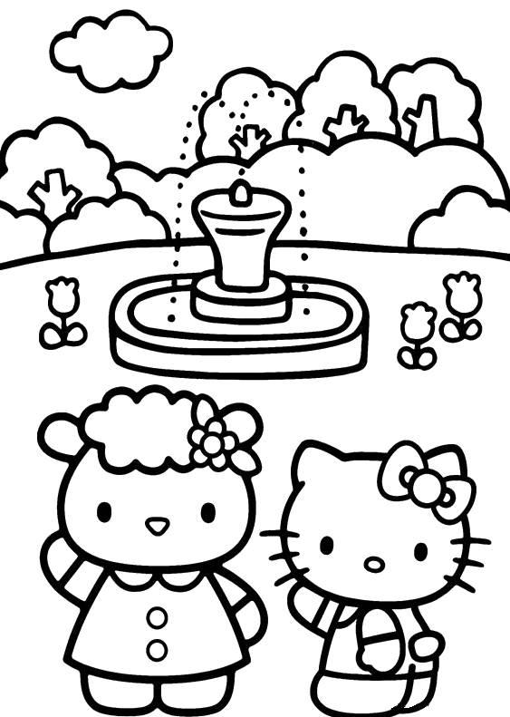Coloriage et dessins gratuits Hello Kitty au parc à imprimer