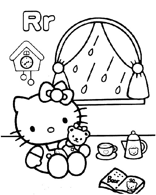 Coloriage et dessins gratuits Hello Kitty boit du thé à imprimer