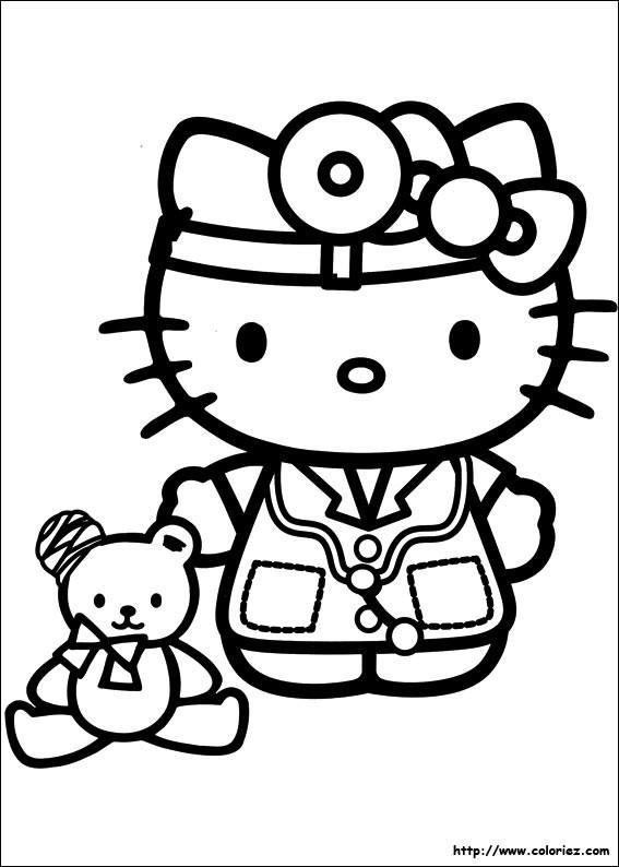 Coloriage et dessins gratuits Hello Kitty docteur à imprimer