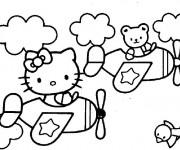 Coloriage Hello Kitty en avion