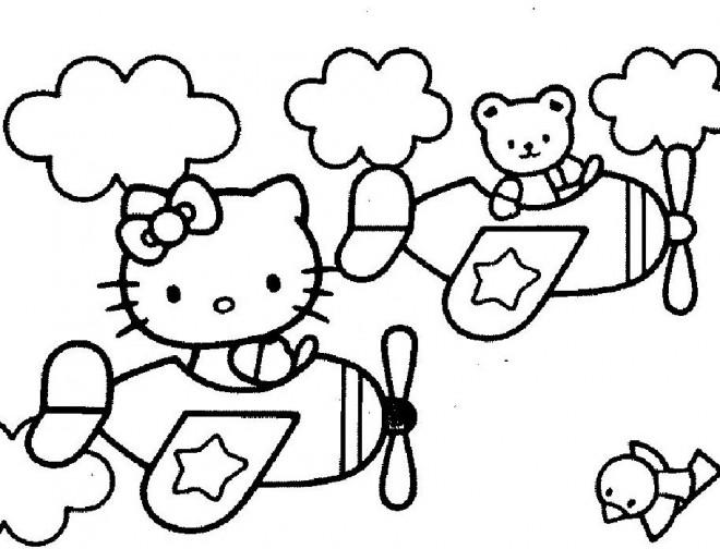 Coloriage et dessins gratuits Hello Kitty en avion à imprimer