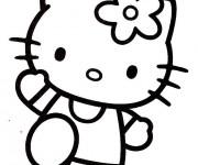 Coloriage Hello Kitty en train te salue