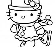 Coloriage et dessins gratuit Hello Kitty entrain de skier à imprimer