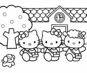 Coloriage Hello Kitty et ses amies