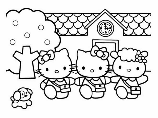 Coloriage et dessins gratuits Hello Kitty et ses amies à imprimer