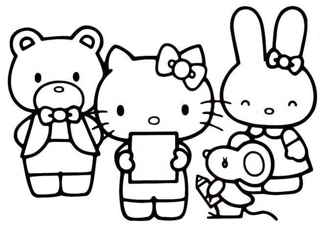 Coloriage Hello Kitty Et Ses Amis Dessin Gratuit A Imprimer