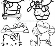Coloriage Hello Kitty et ses aventures