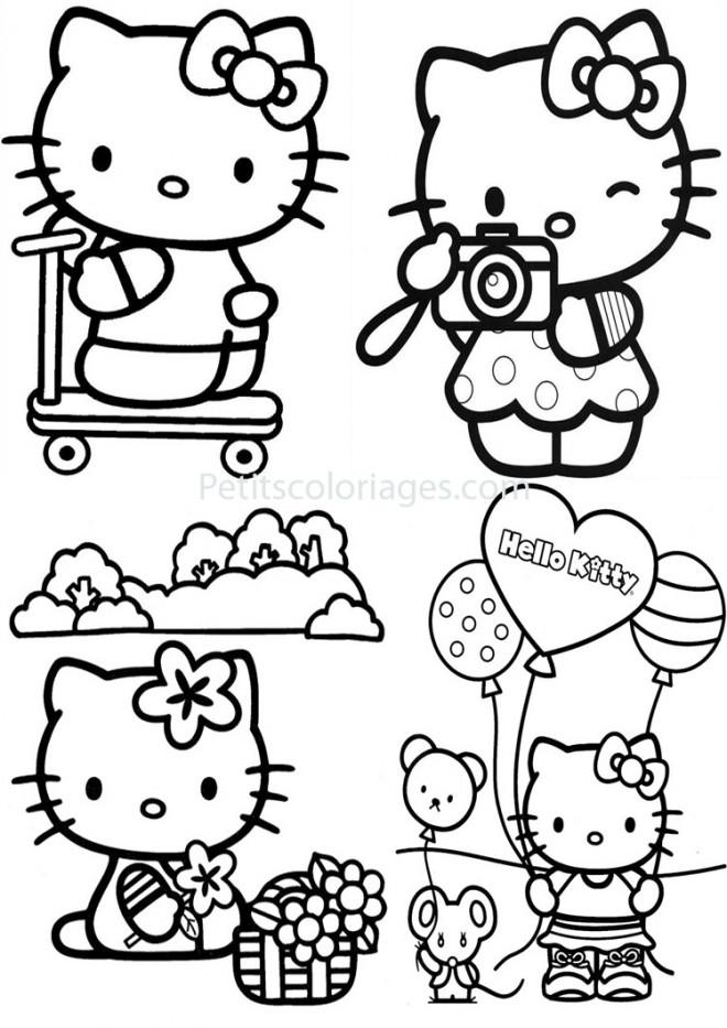 Coloriage et dessins gratuits Hello Kitty et ses aventures à imprimer