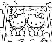 Coloriage Hello Kitty et son amie