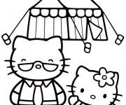 Coloriage Hello Kitty et son père