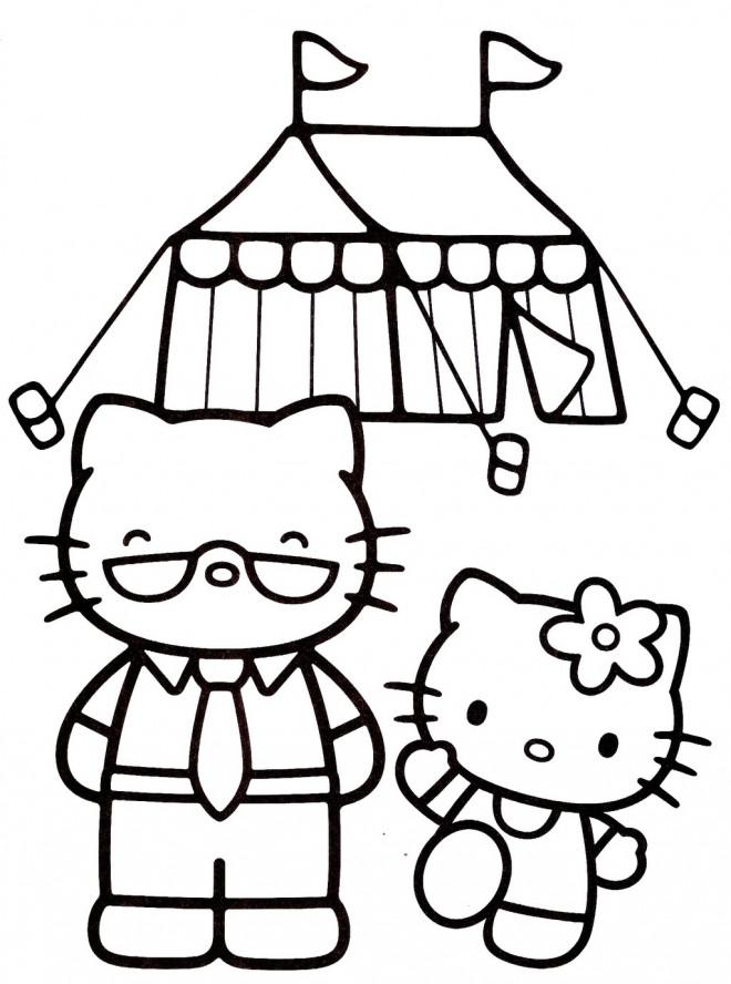 Coloriage et dessins gratuits Hello Kitty et son père à imprimer
