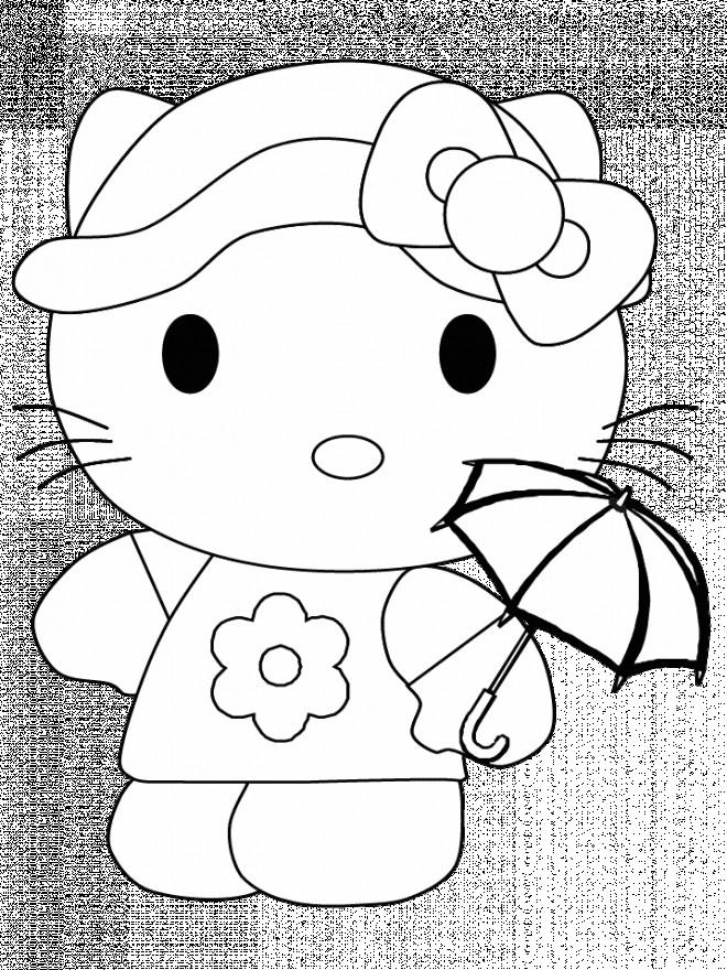 Coloriage et dessins gratuits Hello Kitty facile à imprimer à imprimer