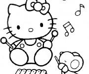 Coloriage Hello Kitty fait de la musique