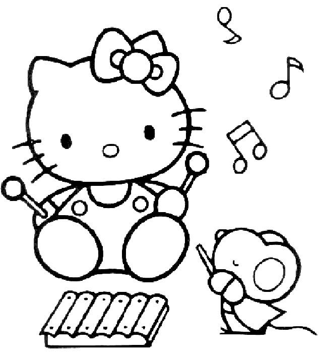 Coloriage et dessins gratuits Hello Kitty fait de la musique à imprimer