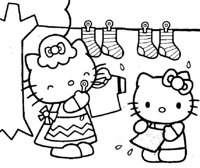 Coloriage et dessins gratuits Hello Kitty fait le grand ménage à imprimer
