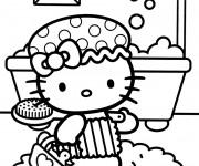 Coloriage Hello Kitty fait une douche
