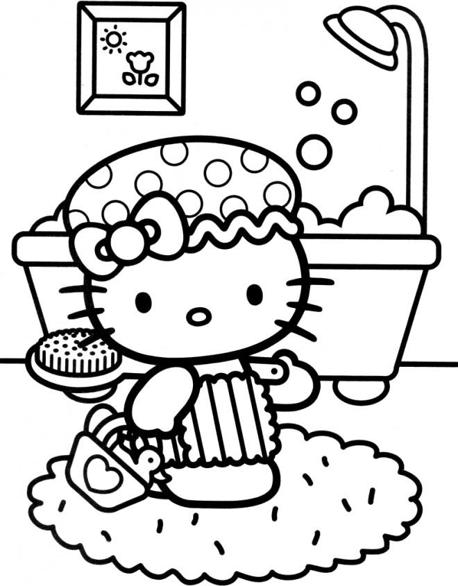 Coloriage et dessins gratuits Hello Kitty fait une douche à imprimer
