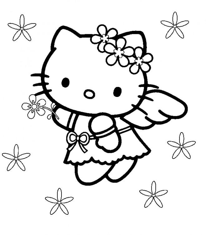 Coloriage et dessins gratuits Hello Kitty l'ange à imprimer