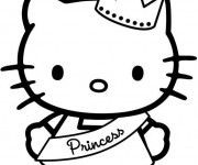Coloriage et dessins gratuit Hello Kitty la plus belle princesse à imprimer
