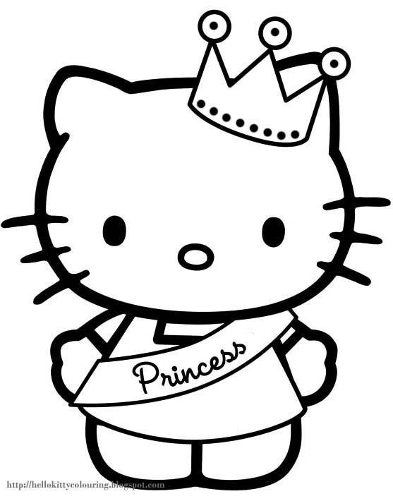 Coloriage et dessins gratuits Hello Kitty la plus belle princesse à imprimer