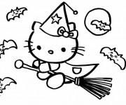 Coloriage Hello Kitty la sorcière