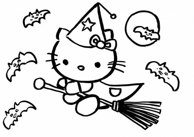 Coloriage et dessins gratuits Hello Kitty la sorcière à imprimer
