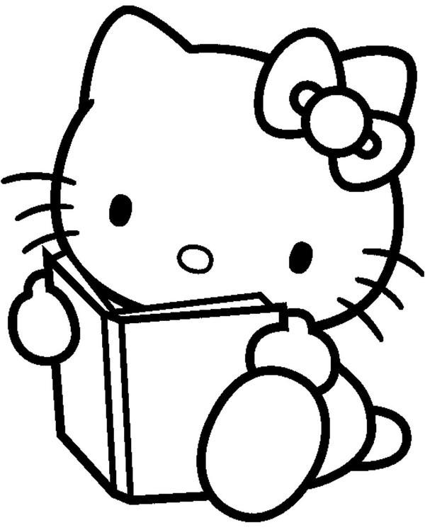 Coloriage Hello Kitty Lit Un Livre Dessin Gratuit A Imprimer