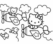 Coloriage et dessins gratuit Hello Kitty pilote un avion à imprimer