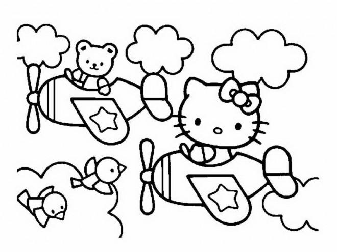 Coloriage et dessins gratuits Hello Kitty pilote un avion à imprimer