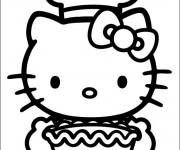 Coloriage Hello Kitty prépara un gateau