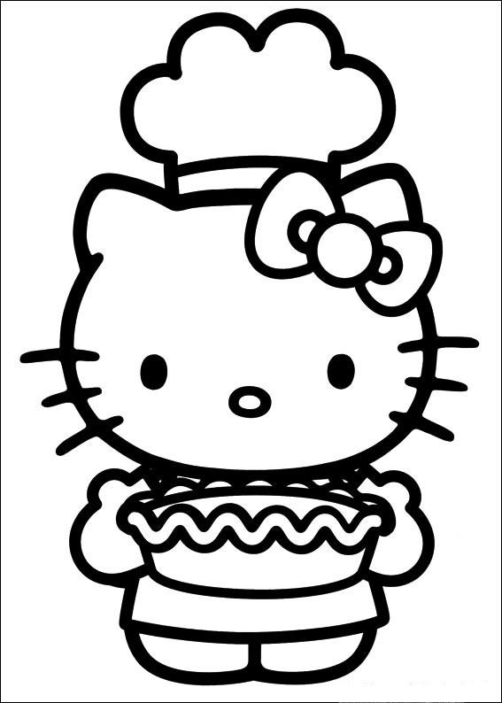 Coloriage et dessins gratuits Hello Kitty prépara un gateau à imprimer