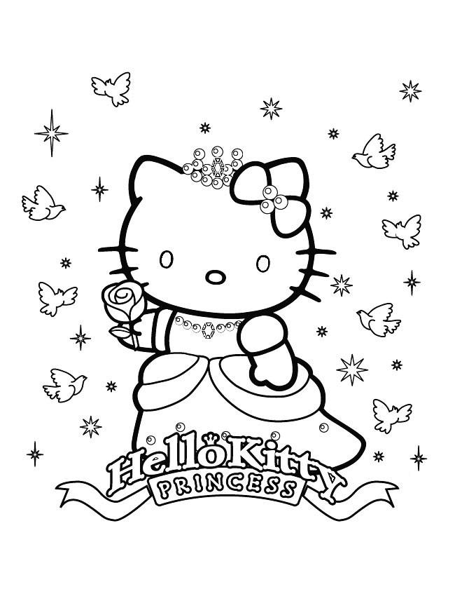 Coloriage et dessins gratuits Hello Kitty princesse à imprimer