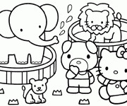 Coloriage et dessins gratuit Hello Kitty s'amuse à imprimer