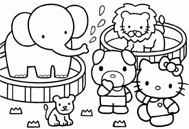 Coloriage et dessins gratuits Hello Kitty s'amuse à imprimer