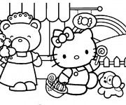 Coloriage Hello Kitty se promène