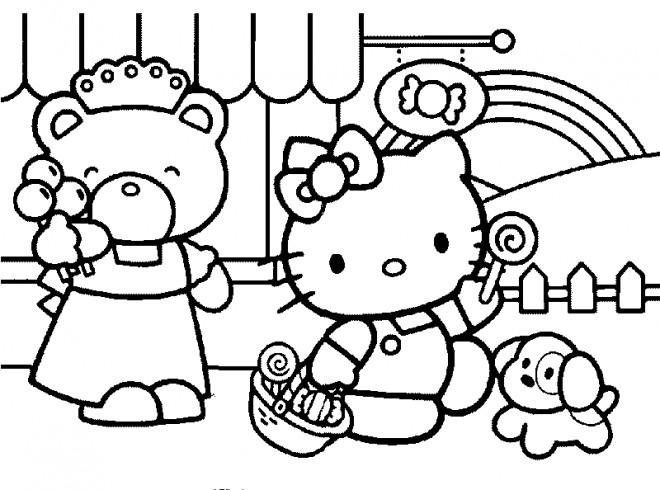 Coloriage et dessins gratuits Hello Kitty se promène à imprimer
