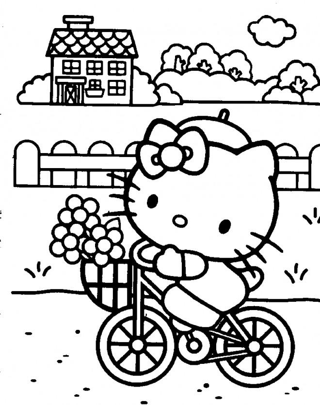 Coloriage et dessins gratuits Hello Kitty se promène en bicyclette à imprimer