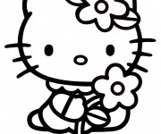 Coloriage et dessins gratuit Hello Kitty simple à colorier à imprimer