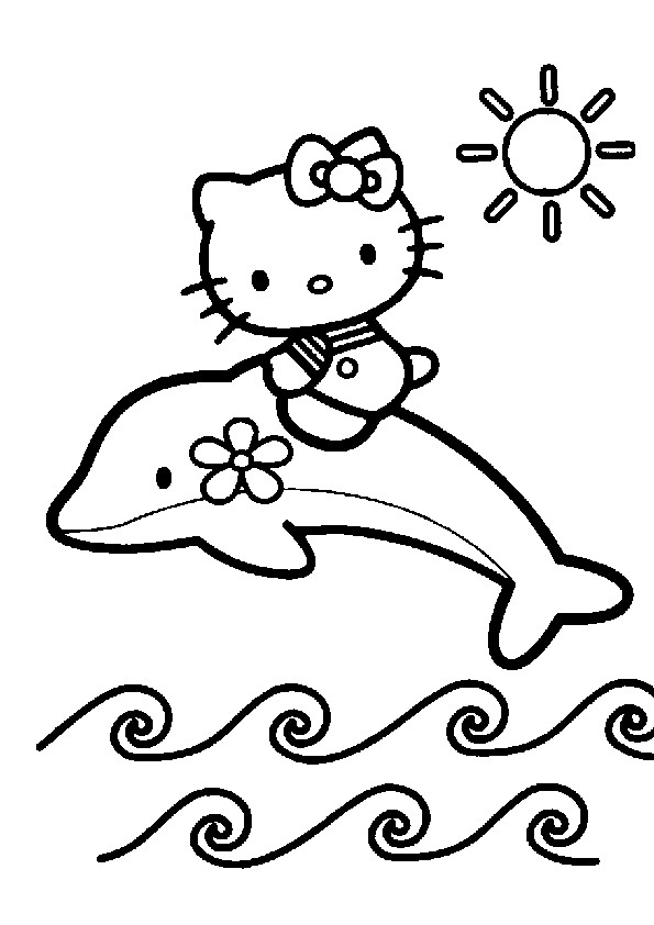Coloriage et dessins gratuits Hello Kitty sur un daulphin à imprimer