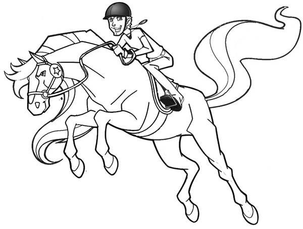Coloriage et dessins gratuits Horseland en plein saut à imprimer