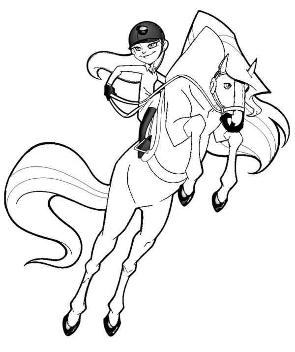 Coloriage et dessins gratuits Horseland saut à cheval à imprimer