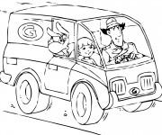 Coloriage Inspecteur Gadget conduit sa voiture