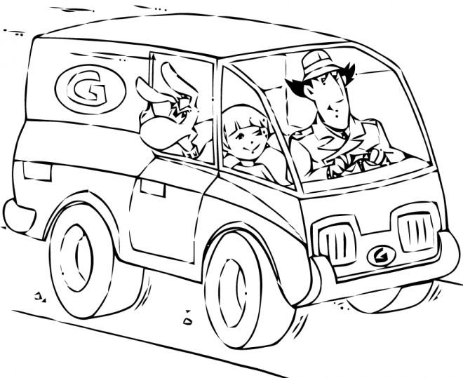 Coloriage et dessins gratuits Inspecteur Gadget conduit sa voiture à imprimer