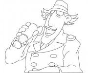 Coloriage Inspecteur Gadget entrain de boire