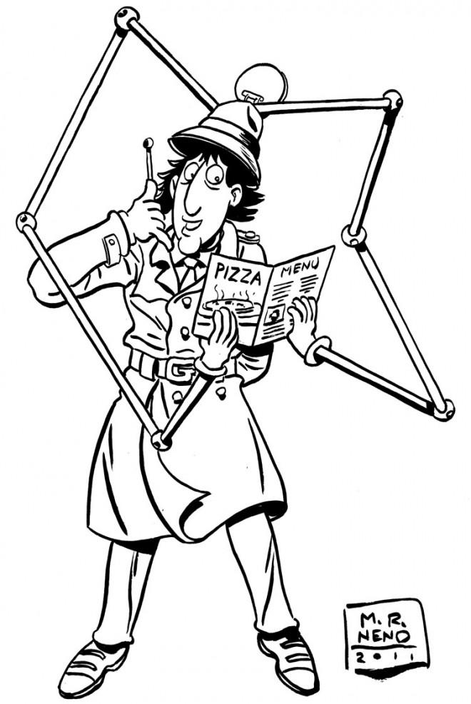Coloriage et dessins gratuits Inspecteur Gadget faut une livraison de pizza à imprimer