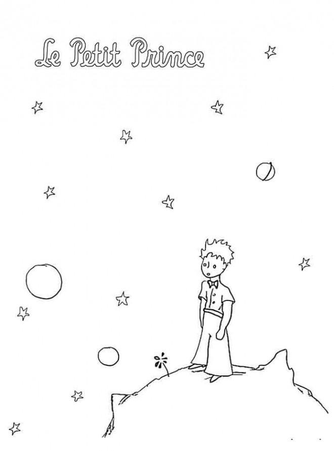 Coloriage et dessins gratuits Le petit prince dans sa planète à imprimer à imprimer