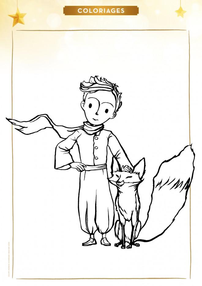 Coloriage et dessins gratuits Le petit prince et le renard à imprimer