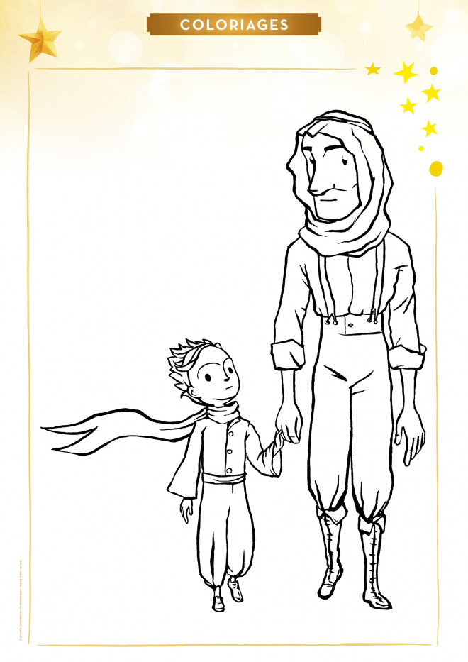Coloriage et dessins gratuits Le petit prince et le vieux homme à imprimer