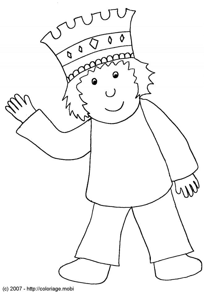 Coloriage et dessins gratuits Le petit prince et sa couronne à imprimer
