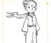 Coloriage Le petit prince porte un écharpe